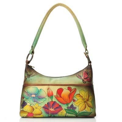 711-987 - Anuschka Hand Painted Leather Medium Zip Top Hobo Handbag