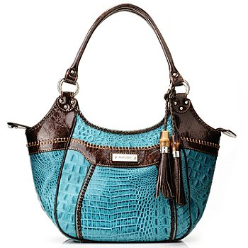 712-000 - Madi Claire Croco Embossed Leather ''Rachelle'' Satchel Handbag