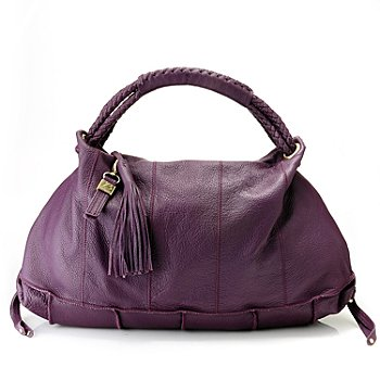 712-011 - Buxton® Leather ''Livorno'' Tasseled Hobo Handbag