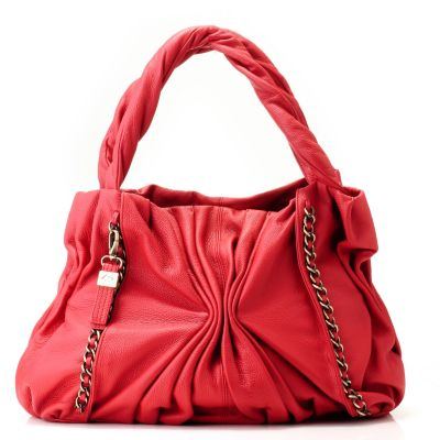 "712-012 - Buxton® Leather ""Varese"" Chain Detailed Ruched Tote Bag"