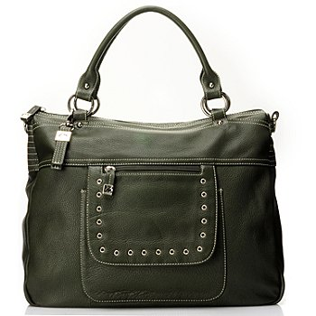 712-015 - Buxton® Leather ''Rimini'' Zip Top Double Handle Shopper Tote Bag