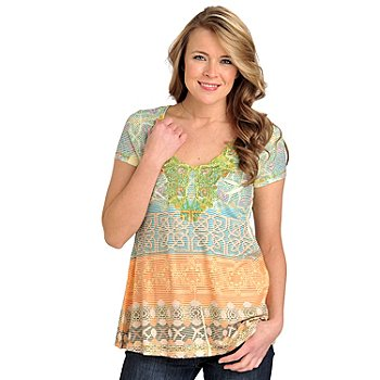 712-023 - One World Knit Short Sleeved Printed Stripe A-Line Top