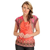 One World Microjersey Paisley Border Print Drape Neck Top