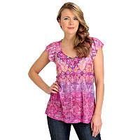 One World Flutter Sleeve Backlique Henley