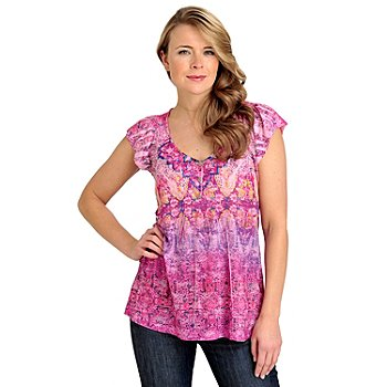 712-025 - One World Knit Flutter Sleeved Backlique Henley Top