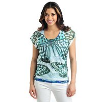 One World Butterfly Lace Overlay With Print Knit Tank