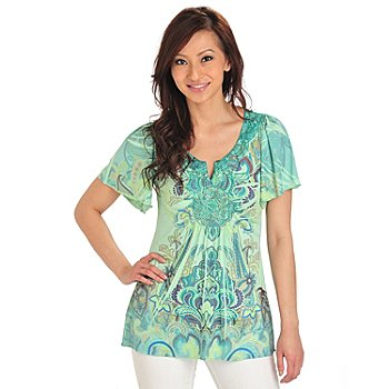 712-032 - One World Micro Jersey Knit Flutter Sleeved Crochet Notch Neck Tunic Top