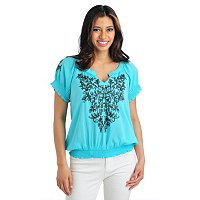 One World Solid Embroidered Peasant Top