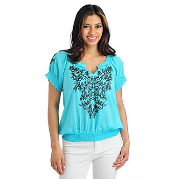 712-037 - One World Challis Raglan Sleeved Embroidered Peasant Top