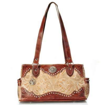 712-083 - American West Hand Tooled Leather Multi Compartment Tote Bag