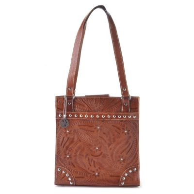 712-091 - American West Hand Tooled Leather Studded Tote Bag