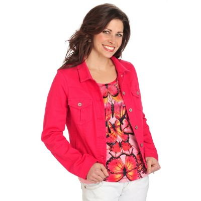712-123 - One World Stretch Denim Long Sleeved Jacket & Printed Tee Set