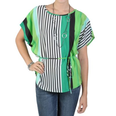 712-270 - Tressa Designs Women's Contemporary Plus Striped Tie-Waist Top