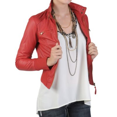 712-302 - Hailey Jeans Co Junior's High Collar Zippered Faux Leather Jacket