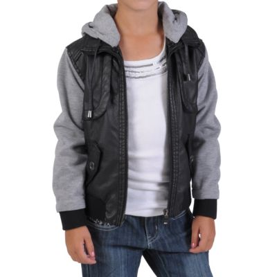 712-312 - Journee Collection Kid's PU Leather Knit-sleeve Varsity Jacket