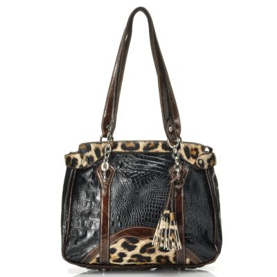 "712-340 - Madi Claire Croco Embossed Leather ""Alexandra"" Tasseled Tote Bag"