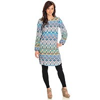 Kate & Mallory Long Balloon Sleeve Printed Tunic