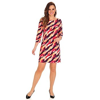 712-418 - Kate & Mallory Stretch Knit 3/4 Sleeved Boat Neck Shift Dress