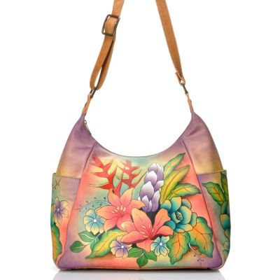 712-420 - Anuschka Hand-Painted Leather Shoulder Bag w/ Adjustable Strap