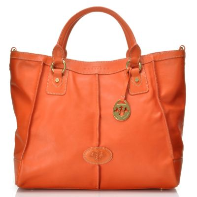 712-453 - PRIX DE DRESSAGE Leather Double Handle Zip Top Satchel w/ Shoulder Strap