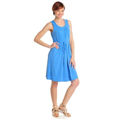 712-469 - Geneology Stretch Knit Sleeveless Pleated Front Tie Waist Dress