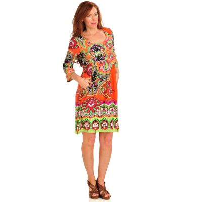 712-503 - Kate & Mallory Stretch Knit 3/4 Sleeved Front Pocket Empire Waist Dress