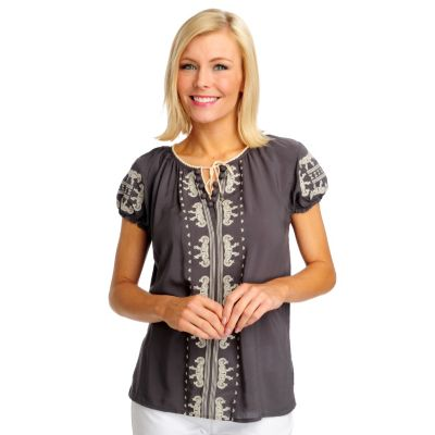712-504 - One World Challis Short Sleeved Tie Front Peasant Top