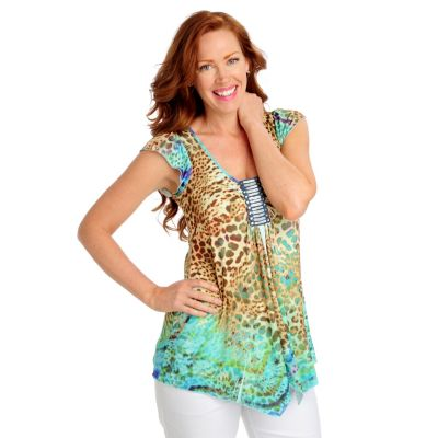 712-506 - One World Micro Jersey Flutter Sleeved Sequin Ladder Sharkbite Hem Top