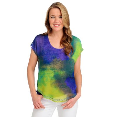 712-508 - One World Knit Cap Sleeved Chiffon Overlay Embellished Top