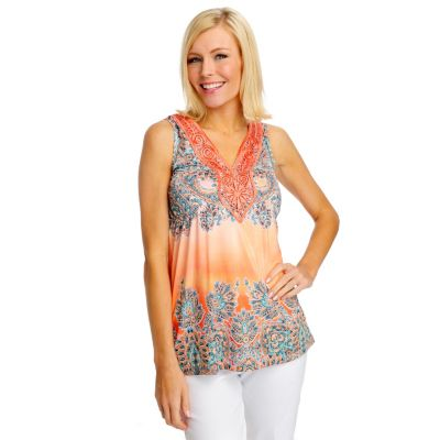 712-509 - One World Micro Jersey Sleeveless Front Applique Tank Top