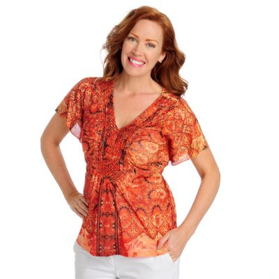 712-510 - One World Printed Mesh Flutter Sleeved Front Applique Top