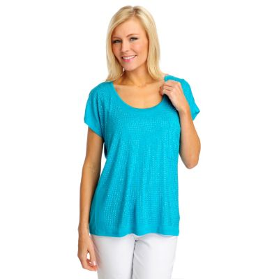 712-513 - One World Stretch Knit Dolman Sleeved Front Pocket Rhinestone Top