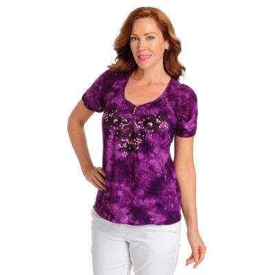 712-517 - One World Challis Raglan Sleeved Embroidered Peasant Top