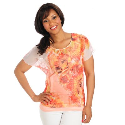 712-519 - One World Chiffon Dolman Sleeved Lace Back Top & Tank Set