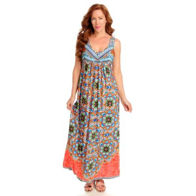 712-527 - One World Stretch Knit Sleeveless Embellished V-Neck Maxi Dress