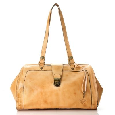 712-588 - Patricia Nash Oil Rubbed Leather Double Handle Frame Satchel