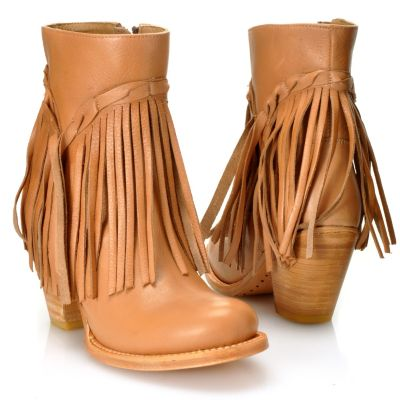 "712-592 - Matisse® Leather ""Rumour"" Fringe Detailed Short Boots"