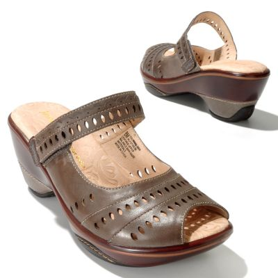 "712-602 - Jambu Leather ""Touring"" Peep Toe Slip-on Wedges"