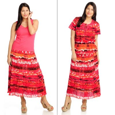 712-607 - OSO Casuals Printed Gauze Top, Tiered Skirt & Solid Knit Tank Three-Piece Set