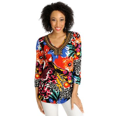 712-622 - Love, Carson by Carson Kressley Stretch Knit 3/4 Sleeved Embellished Tunic
