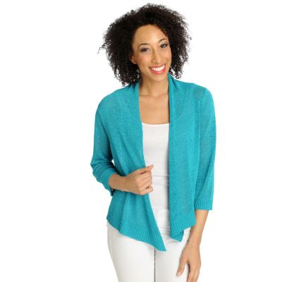 712-624 - Love, Carson by Carson Kressley Tape Yarn 3/4 Sleeved Open Cardigan