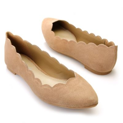 "712-739 - MIA Suede Leather ""Abie"" Scalloped Ballet Flats"