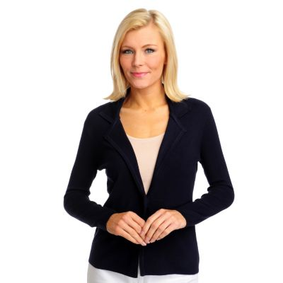 712-779 - Geneology Fine Gauge Knit Long Sleeved One-Button Sweater Blazer