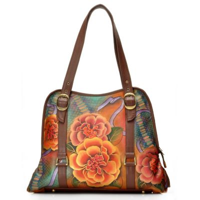712-832 - Anuschka Hand Painted Leather Large Zip Around Tote Bag w/ Coin Purse