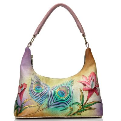 712-835 - Anuschka Hand-Painted Leather Hobo Handbag w/ Matching Pocket Mirror