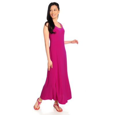 712-848 - aDRESSing WOMAN Stretch Knit Sleeveless Chainlink Neckline Maxi Dress