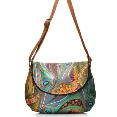 712-855 - Anuschka Hand Painted Leather Large Convertible Bag w /Matching Wallet
