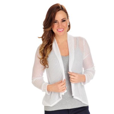 712-861 - Geneology Open Knit Herringbone Design Long Sleeved Open Cardigan
