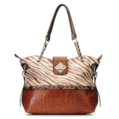 "712-863 - Madi Claire Croco Embossed Leather ""Carly"" Zebra Print Tote Bag"