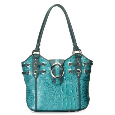 "712-871 - Madi Claire Croco Embossed Leather ""Simone"" Buckle Detailed Tote Bag"